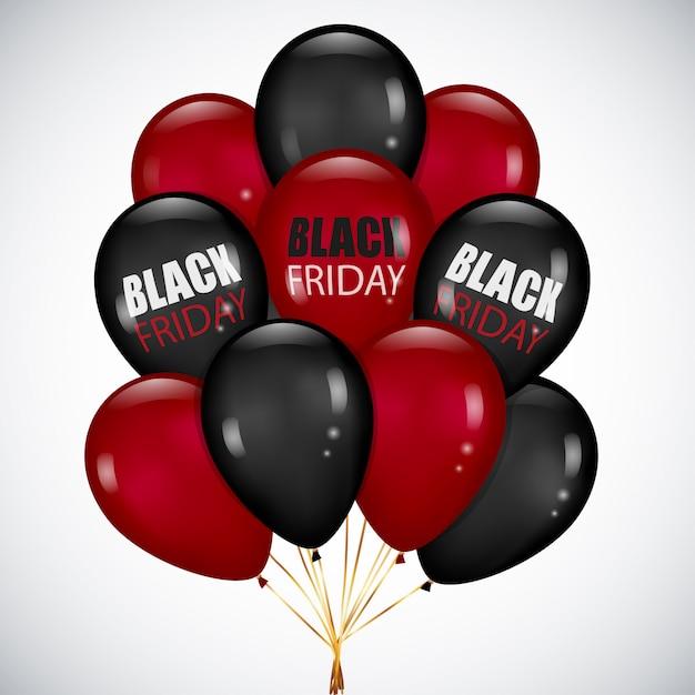 Vente du vendredi noir avec ballot réaliste ballons noirs et rouges Vecteur Premium