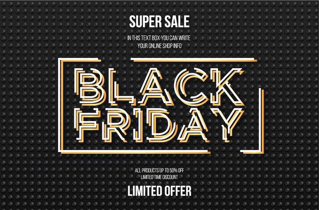 Vente Du Vendredi Noir Avec Bannière 3d Vecteur gratuit