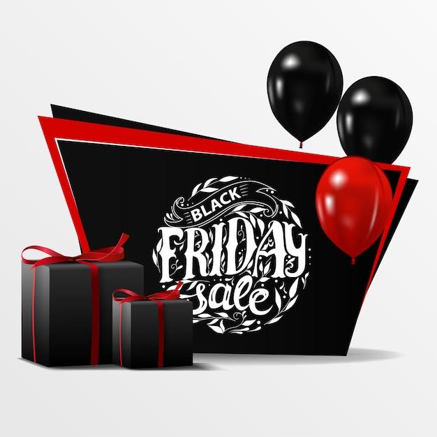 Vente Du Vendredi Noir. Bannière Avec Des Ballons Noirs Et Des Cadeaux Vecteur Premium