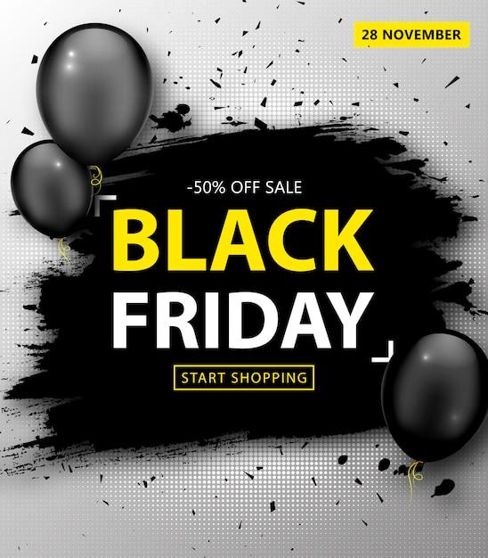Vente Du Vendredi Noir. Bannière De Réduction Avec Cadre De Grunge Et Ballons Vecteur Premium