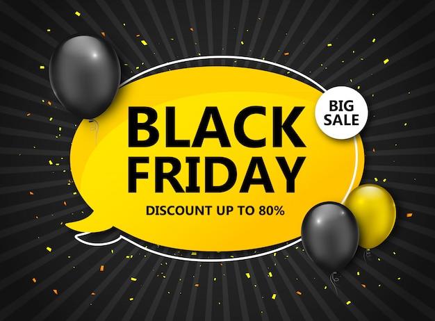 Vente du vendredi noir. bannière de remise avec des ballons Vecteur Premium