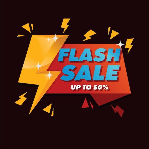 Vente flash avec fond de style plat Vecteur Premium