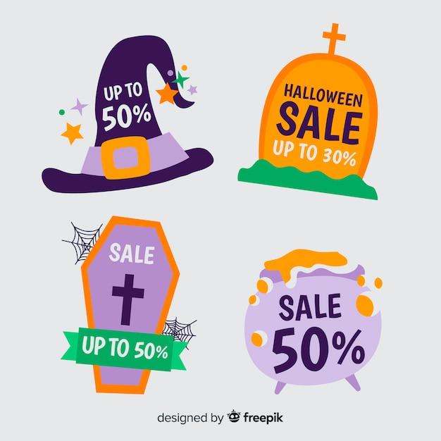 Vente de halloween dessiné à la main avec décoration de sorcière Vecteur gratuit