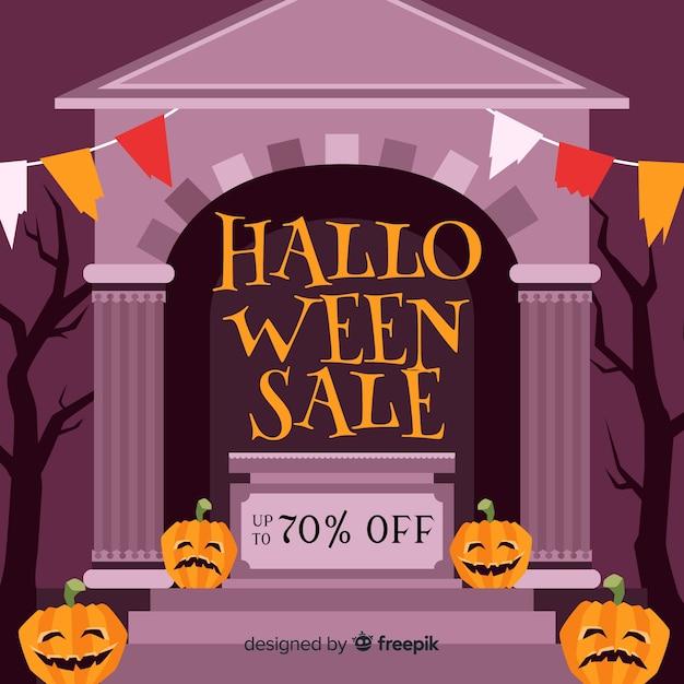 Vente de halloween dessiné à la main Vecteur gratuit