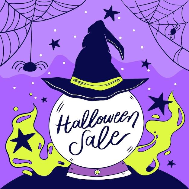 Vente D'halloween Dessiné à La Main Vecteur gratuit
