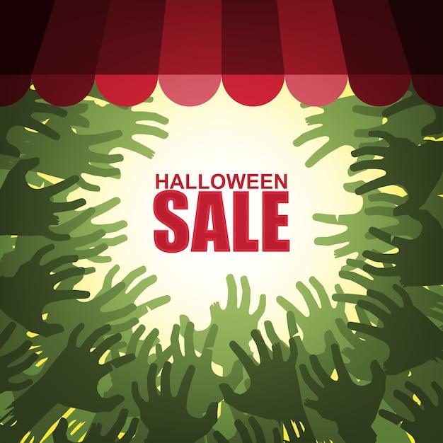 Vente d'halloween avec les mains d'un groupe de zombies attaquant la vitrine Vecteur Premium