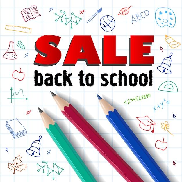 Vente, inscription à l'école, crayons et dessins à la main Vecteur gratuit