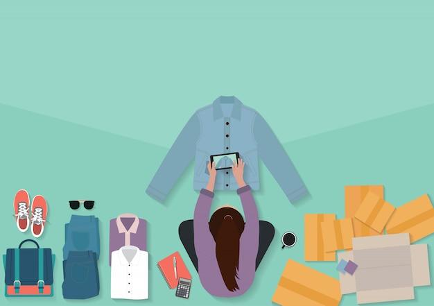 Vente En Ligne D'idées Concept Propriétaire De Petite Entreprise, Vue De Dessus Femmes Prenant Des Photos De Chemises Vecteur Premium