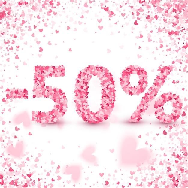 Vente de liquidation le jour de la saint-valentin. réductions Vecteur Premium