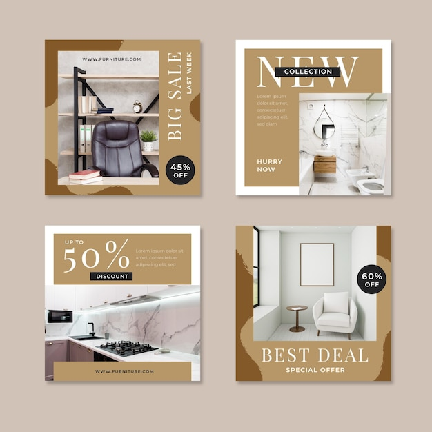Vente De Meubles Instagram Post Collection Vecteur Premium