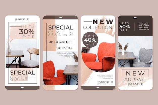 Vente De Meubles Instagram Stories Vecteur Premium