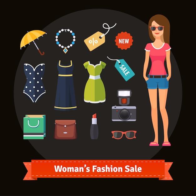 Vente de mode femme été avec modèle Vecteur gratuit