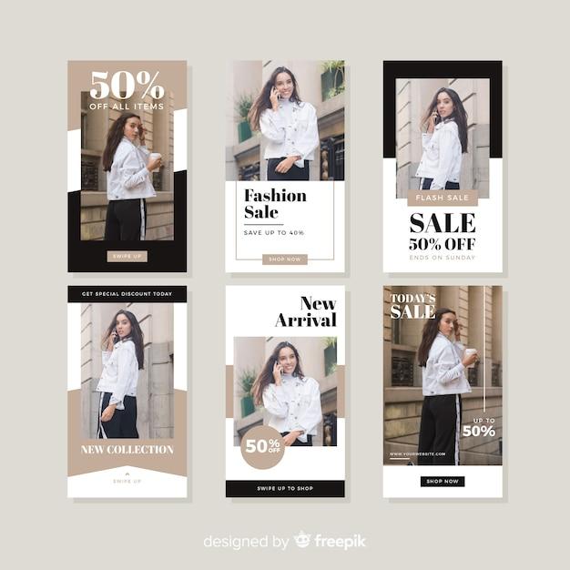 Vente De Mode Instagram Stories Collectio Vecteur gratuit