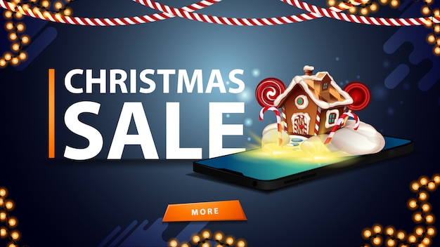 Vente de noël, bannière de réduction bleue pour site web avec guirlandes, boutons et smartphone de l'écran qui apparaissent comme une maison en pain d'épice de noël Vecteur Premium