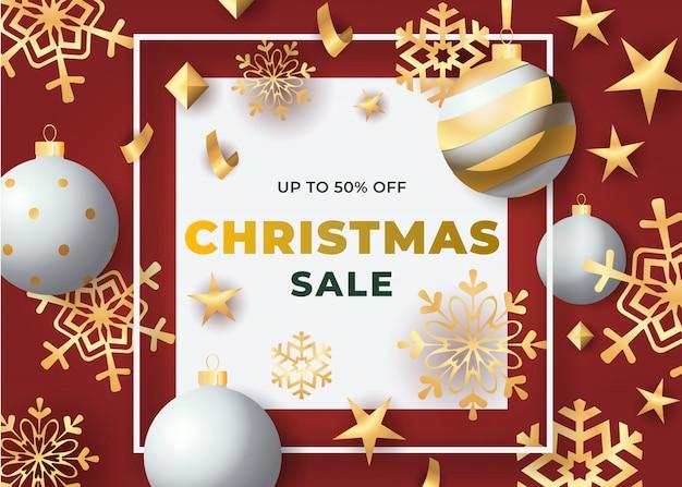 Vente De Noël En Cadre Avec Des Boules Et Des Flocons De Neige Vecteur gratuit