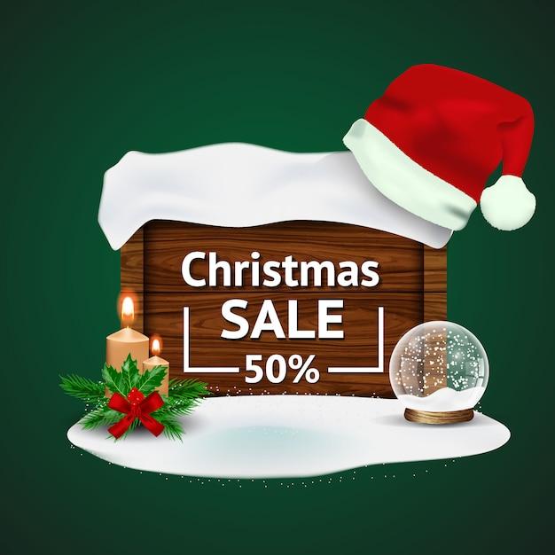 Vente De Noël Avec Des Décorations De Noël Vecteur Premium