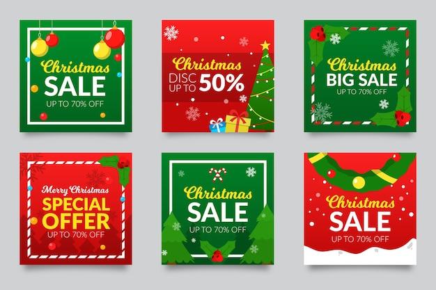 Vente De Noël Instagram Collection Post Vecteur gratuit