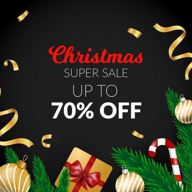 Vente De Noël En Or Avec Ruban Et Cadeau Vecteur gratuit