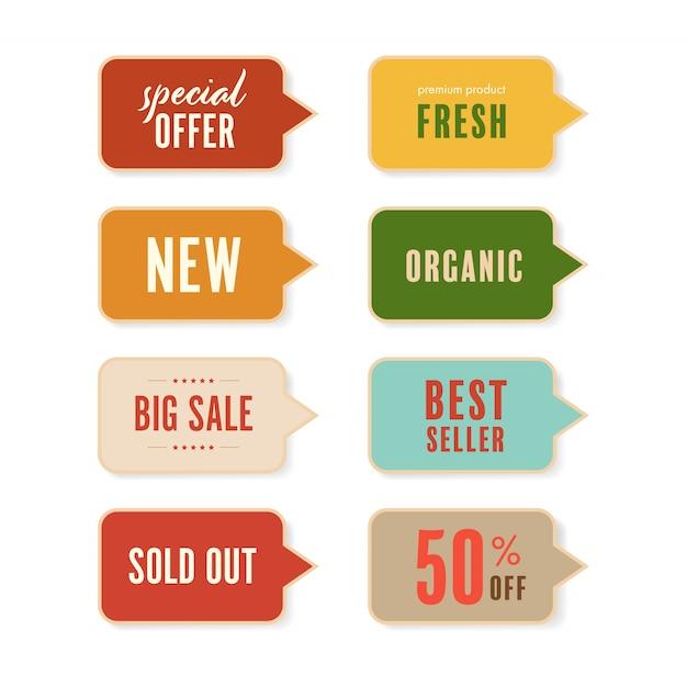 Vente et nouvelle étiquette. Vecteur Premium