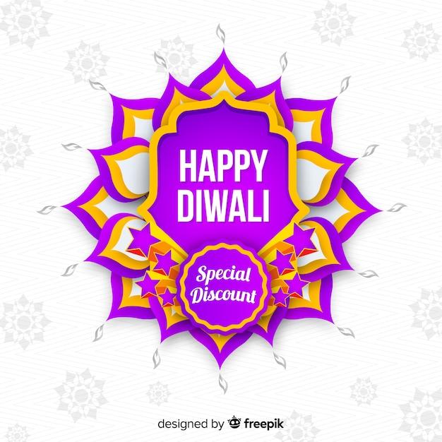 Vente De Plat Diwali Sur Fond Blanc Vecteur gratuit