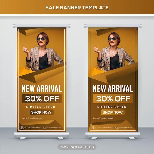 Vente retrousser bannière avec concept premium Vecteur Premium