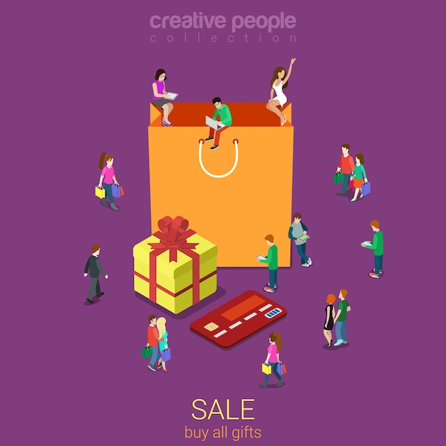 Vente Sac Shopping Plat Isométrique Vecteur Premium