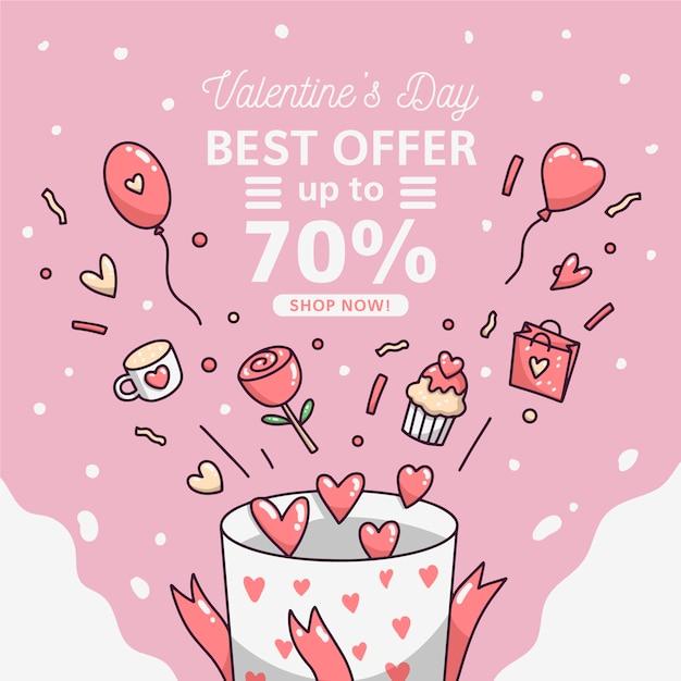 Vente De Saint Valentin Dessiné à La Main Vecteur gratuit