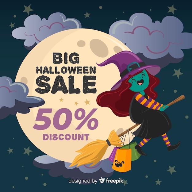 Vente de sorcière halloween dessinée à la main Vecteur gratuit