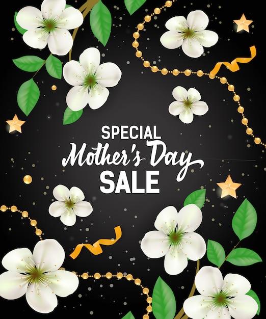 Vente spéciale fête des mères avec des guirlandes et des fleurs. fête des mères Vecteur gratuit