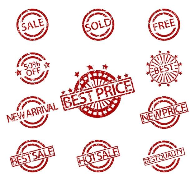 Vente de timbres en caoutchouc Vecteur Premium