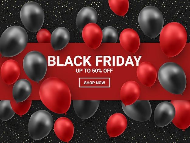 Vente De Vendredi Noir Avec Des Ballons Brillants Et Un Cadre Carré Rouge. Vecteur Premium