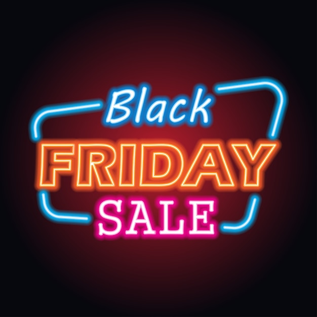 Vente de vendredi noir avec effet néon pour un vendredi noir Vecteur Premium