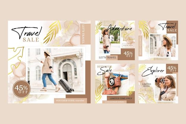 Vente De Voyage Instagram Post Collection Vecteur gratuit