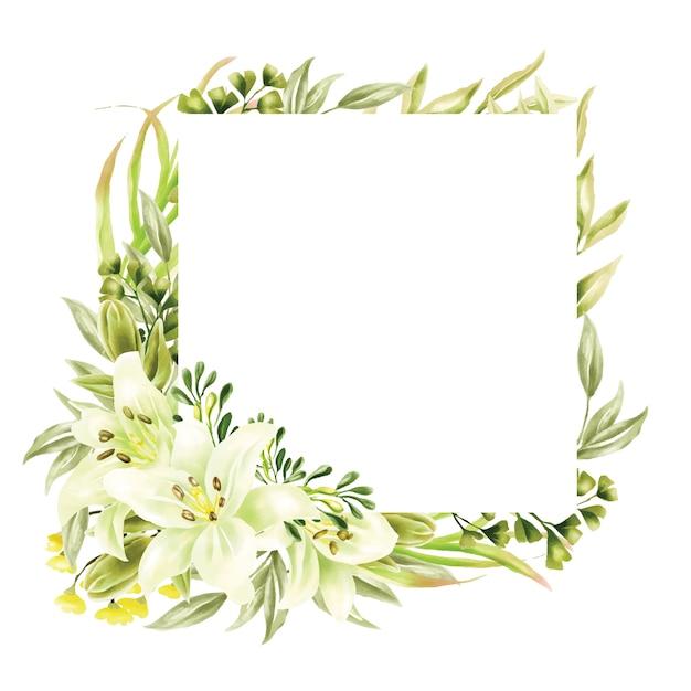 Verdure aquarelle lis cadre polyvalent fond Vecteur Premium