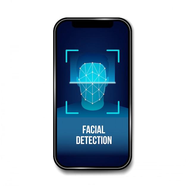 Vérification biométrique du visage, identification. Vecteur Premium