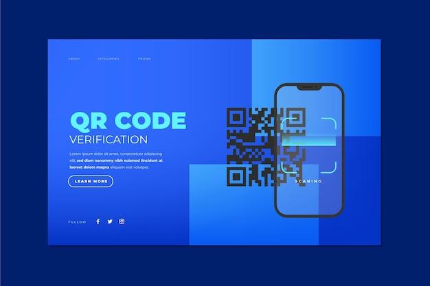 Vérification Du Code Qr - Page De Destination Vecteur gratuit