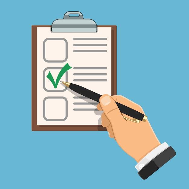 Vérification De L'écriture à La Main Sur Dossier Vecteur Premium
