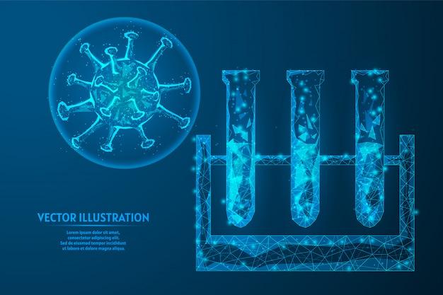 Vérifiez Les Tests De Coronavirus Dans Le Sang. Tube à Essai En Verre Médical. Pandémie De Virus Infectieux Covid-19. Technologie Innovante De Tests Médicaux. Vecteur Premium