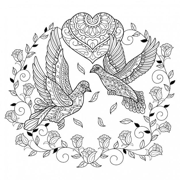 Veritable Pigeon Amoureux Illustration De Croquis Dessines A La Main Pour Livre De Coloriage Adulte Vecteur Premium