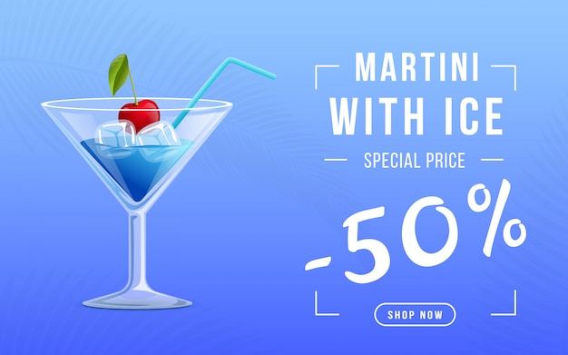 Vermouth avec modèle de bannière de web de glace Vecteur Premium