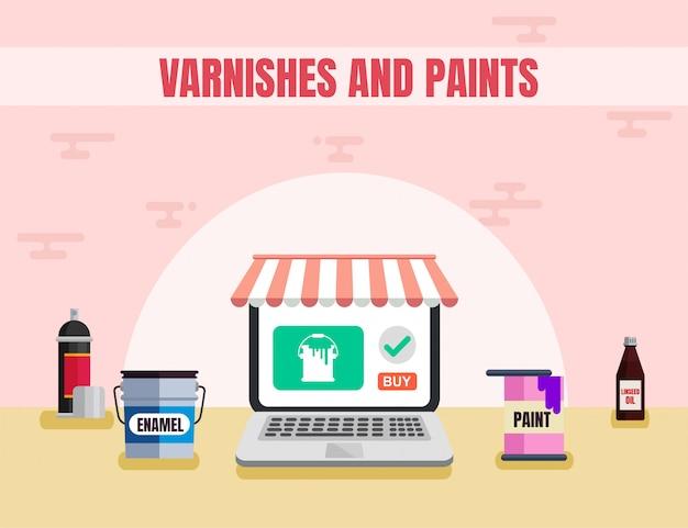 Vernis et peintures matériaux vector plate Vecteur Premium