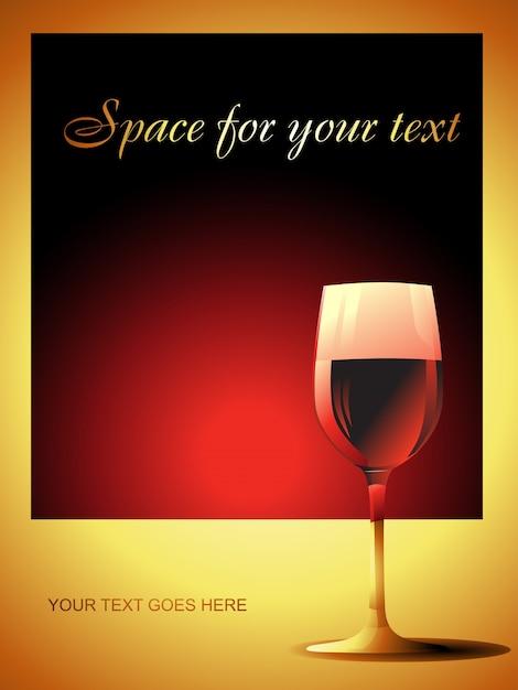 Verre à vin sur fond rouge haut de gamme Vecteur gratuit