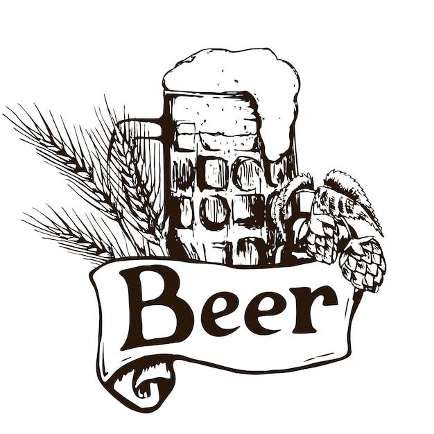 Verre De Bière. Illustration Vintage Dessinée à La Main. Vecteur Premium