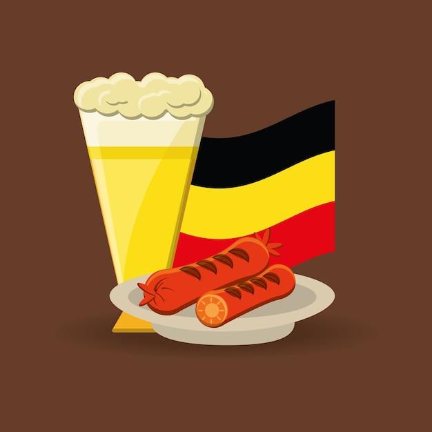 Verre à Bière Et Plat Avec Des Saucisses Vecteur Premium