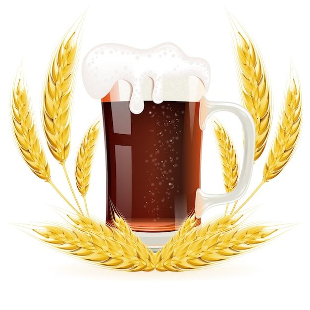 Verre De Bière Vecteur Premium