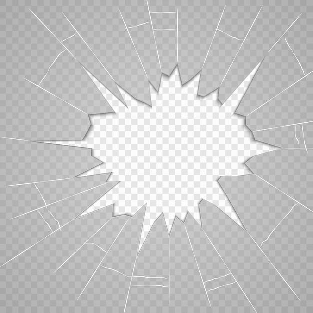Verre brisé verre fissuré réaliste isolé Vecteur Premium