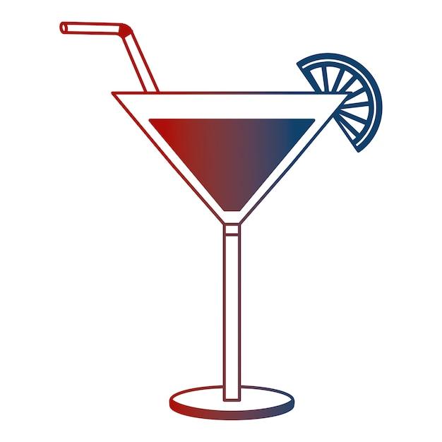 Verre à cocktail boisson alcool paille de citron Vecteur Premium