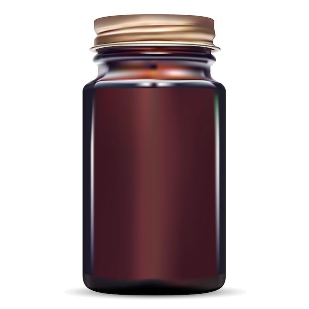 Verre médical à la morue en verre ambré. Vecteur Premium