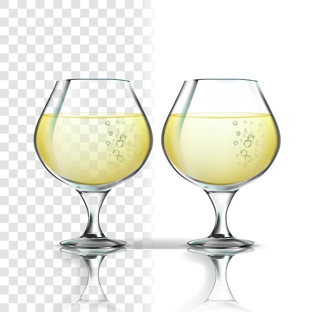 Verre réaliste au vin blanc riesling Vecteur Premium