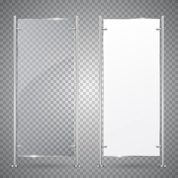 Verre De Support Vertical Publicitaire 3d Et Bannière Blanche Vierge. Vecteur Premium
